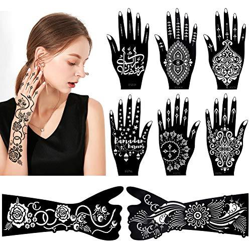 HOWAF 8 Blatt Henna Tattoo Schablonen für Hand Arm Körperbemalung, Temporäres Tätowierung Mandala Blume indischer Araber Tattoos Aufkleber Schablonen für Mädchen Erwachsener Make-up Halloween Karneval