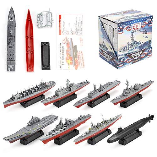 Viikondo 8 Piece Sets Battleship Aircraft Toy Submarine, Plastic Model Warships Ship Kits, Navy Ship Battleship Models -  724026757648