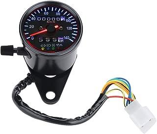 Suuonee Motorcycle Odometer, LED Backlight 12 V Motorcycle Dual Odometer Speedometer Gauge Kit Cafe Racer