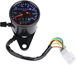 SANON Motocicleta Doble Od/ómetro Veloc/ímetro Medidor Kit Cafe Racer Retroiluminaci/ón Led 12 V