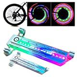 WSQDSKHJH 2Pcs Bike Wheel Lights, Wheel Spoke Lights with 30+ Changes 16 LED Beads Ultra-bright Signal Tire...
