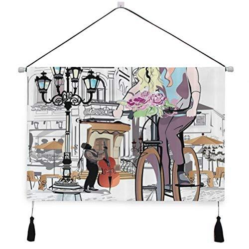 PATINISA Póster colgante de lienzo,Chica de moda con bicicleta y rosas en la calle Casco antiguo Músico Tour romántico Ciudad perchas decorativas para colgar en la pared con pergamino para el