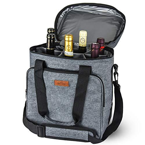 Freshore Insulated Wine Carrier 6 Flasche Tasche Tote - Tragbare Reise Padded Cooler Tragetasche Canvas Einstellbare Schultergurt - (Space Grey)