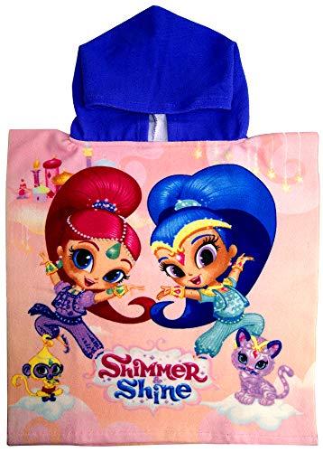 Shimmer & Shine Toalla de baño con capucha, playa, piscina, poncho, con licencia oficial