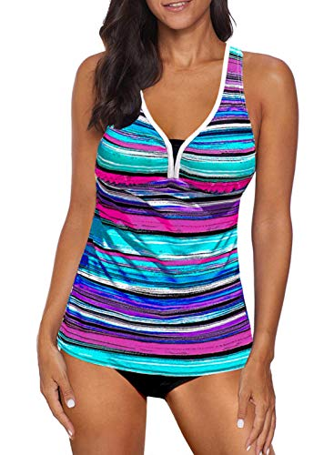 Aleumdr Women's Color Block Striped Print Athletic Padded Swimwear Swimsuits Racerback Two Piece Tankini Bathing Suit Blue X-Large 14 16