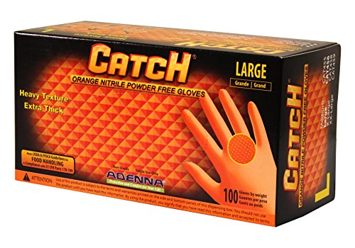 Adenna CAT456 Catch 9 mil Nitrile Powder Free Gloves (Orange, Large) Box of 100