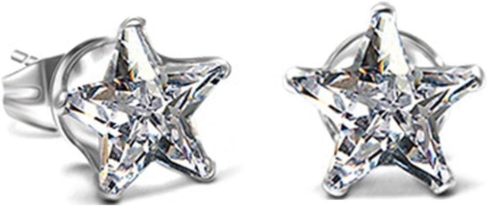 Stainless Steel Star Shaped Cubic Zircon Stud Earrings