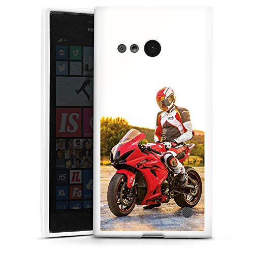 DeinDesign Silikon Hülle kompatibel mit Nokia Lumia 735 Hülle weiß Handyhülle YouTube Motorrad Motorsport
