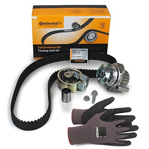 Inspektionspaket Contitech Zahnriemen-Satz CT1028WP3 + Contitech Wasserpumpe + Priner Montagehandschuhe