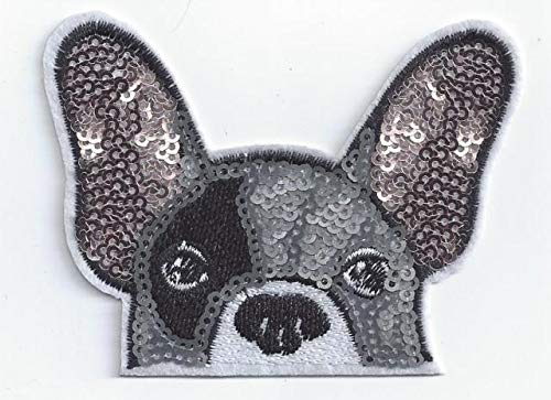 Frenchie Dog Patch Iron On, Dog Sequined Applique, Patch,Sequins Patch Supplies for Coat,T-Shirt,Costume Decorative Pug Bull Dog