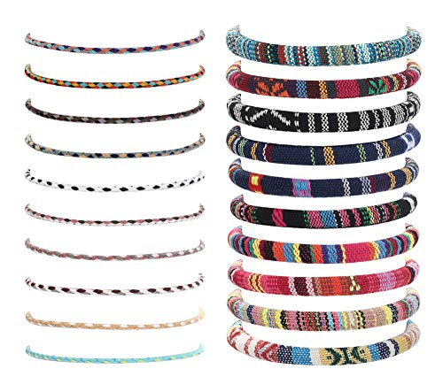 CASSIECA 20 Pcs Handmade Wrap Friendship Braided Bracelets for Women Colorful Adjustable Vsco String Cord Woven Rope Wrist Bracelet Anklets Set for Birthday Party