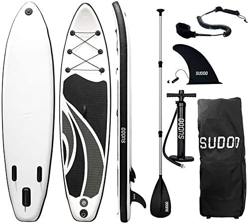 Triclicks 10ft Stand Up Paddle Boards Inflatable SUP Board Surfboard - Beginner's Kit. Adjustable Paddle, Air Pump With Pressure Guage, Fin, Repair Kit, Premium Leash & Rucksack - 300 x 75 x 15cm