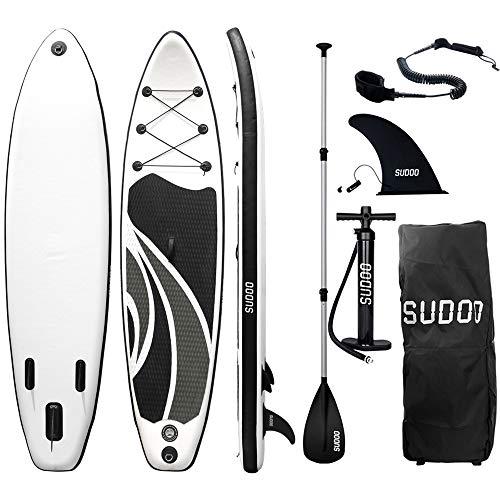 Triclicks Sup Stand Up Paddle Gonflable Board 300x75x15cm (Ép), Pompe Haute Pression, Pagaie/Leash/Sac, Aileron Central Amovible, Kit de Réparation (Style 2)