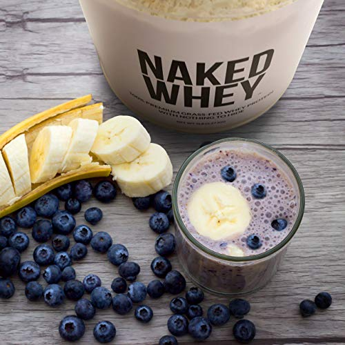 NAKED WHEY 5LB 100% Grass Fed Whey Protein Powder - US Farms, #1 Undenatured, Bulk, Unflavored - GMO, Soy, and Gluten Free - No Preservatives - Stimulate Muscle Growth - Enhance Recovery - 76 Servings 6