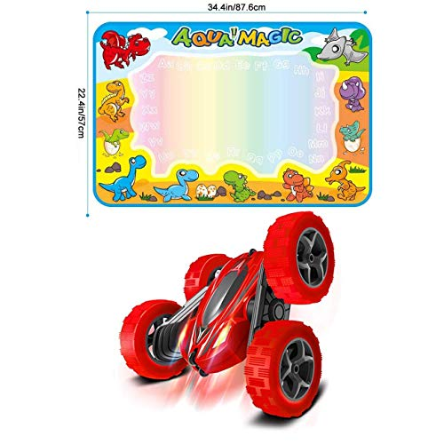 FREE TO FLY Toys Remote Control Car for Kids: Red 4WD Stunt RC Cars with 2 Rechargeable Battery - Double Sliding Hobby Car Birthday Gifts for Toddlers at Age of 4 5 6 7 8 9 Boys & Girls