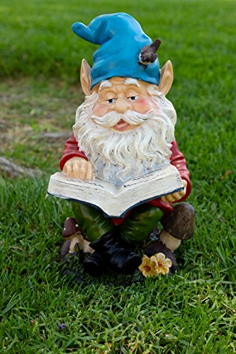 Alpine Gnome Reading a Book Statue, 14 Inch Tall