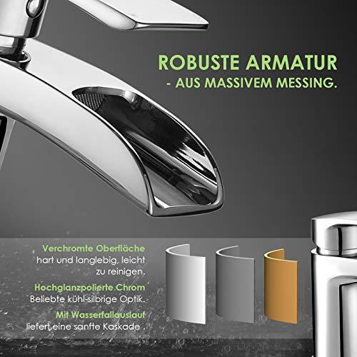 Design Kurzer Wasserfall Waschtischarmatur Einhebelmischer-Waschtischbatterie Bad Armatur Wasserhahn für Waschbecken - 3