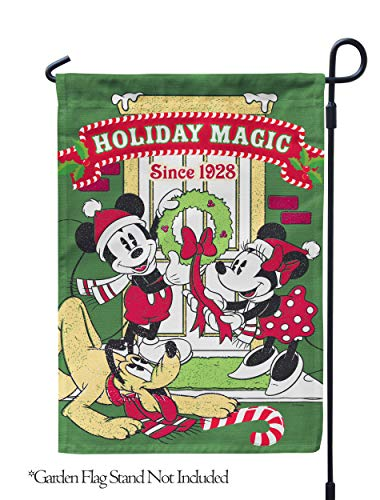 """Flagology.com, Disney, Mickey Mouse, Minnie Mouse & Pluto, Mickey, Minnie, Pluto Holiday Magic – Garden Flag – 12.5"""" x 18"""", Outdoor, Printed on Both Sides, Officially Licensed Disney"""