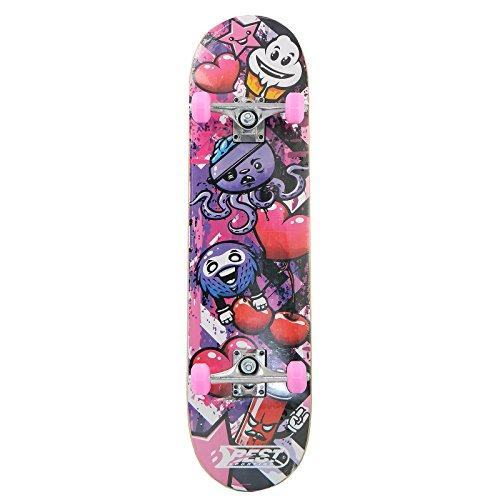 Best Sporting Skateboard Graphic, ABEC 3, max. Belastung 100 kg, Farbe:pink/schwarz