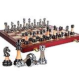 LAIDEPA Juego de ajedrez Lujo, con Ranuras Almacenamiento y Piezas de ajedrez Brillantes de Lujo Juegos de Mesa Plegables Madera, Regalo Ideal para Amantes del ajedrez y Principiantes,45 * 45 * 3.5CM