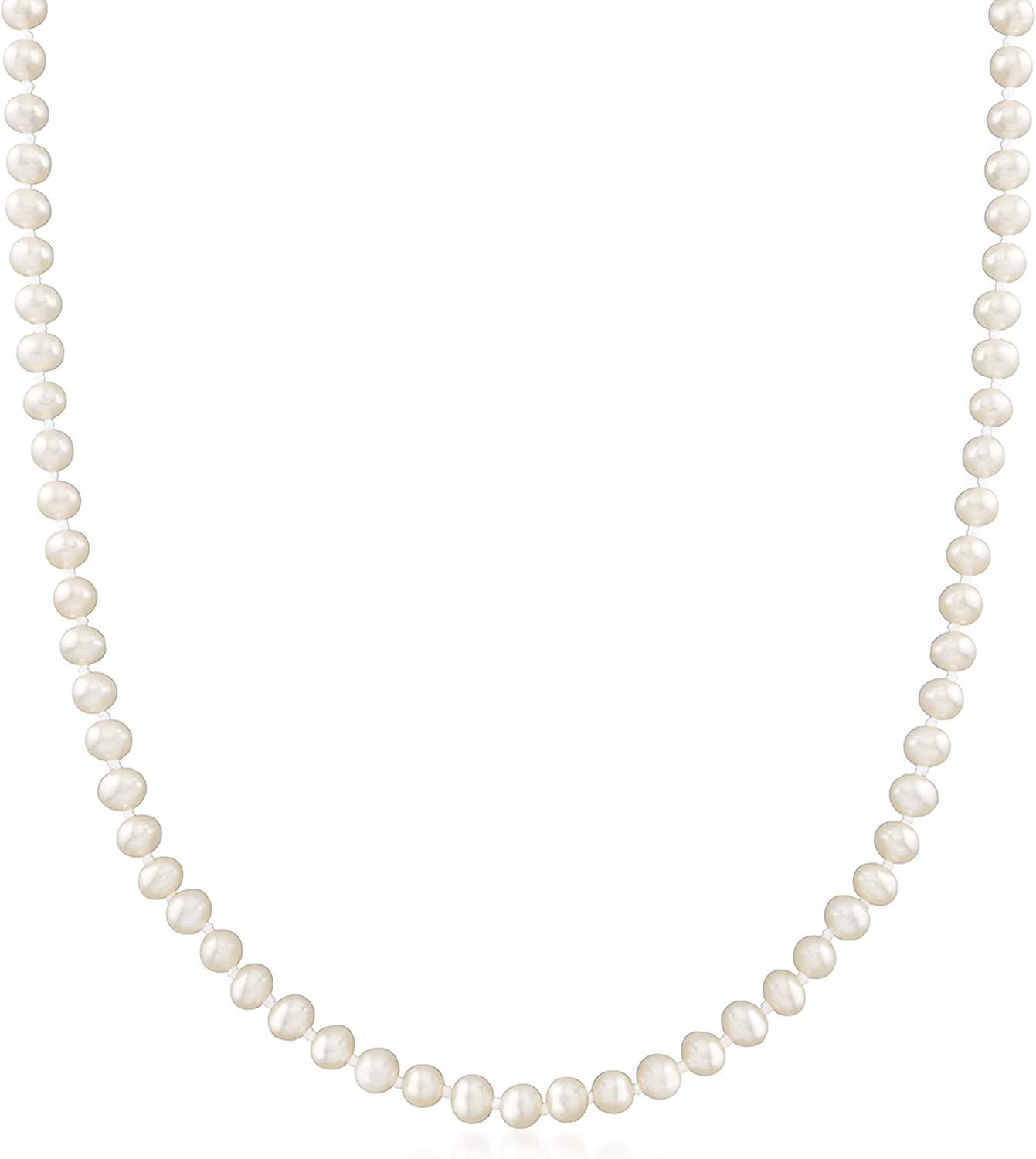 Ross-Simons 4-4.5mm Cultured Pearl Necklace in 14kt Yellow Gold