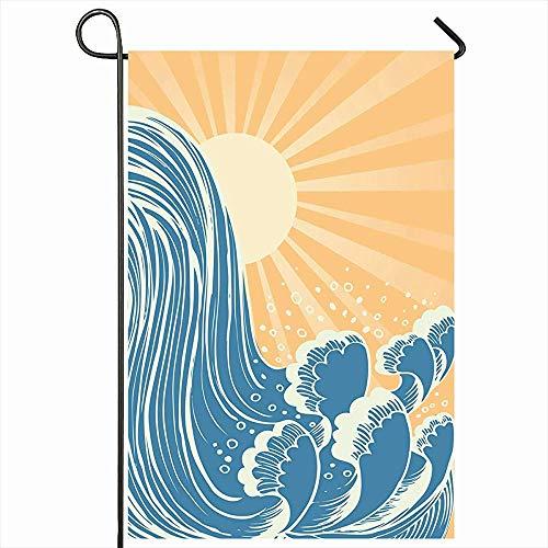 Outdoor Garten Flagge 30X45 CM Drop Spot Ozean Wasserfall Blau Wasser Wellen Kurve Sonne Natur Gezeiten Abstrakt Strand Surfen Cool Sea Home Decor Saisonale Doppelseiten Haus Hof Zeichen Banner