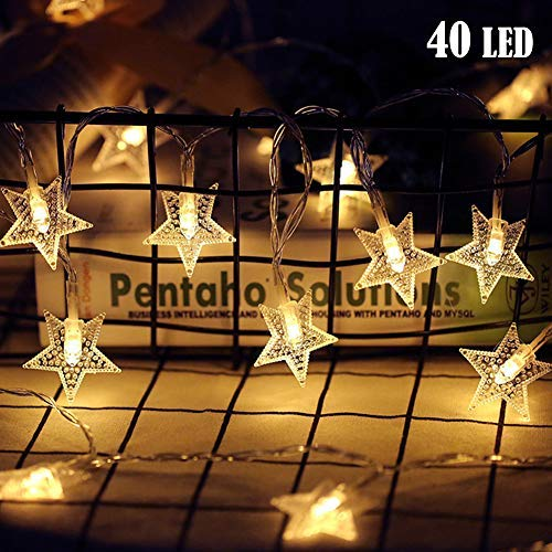 Twinkle Star 40 LED 14 FT Star String Lights Battery Operated, Fairy String...