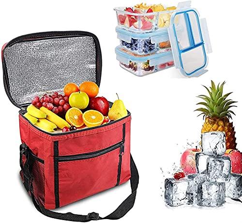 hsj LF- Bolsa de refrigeración de tela Oxford para exteriores, bolsa de hielo, bolsa de hielo de hojalata, bolsa de picnic (2 piezas) protección del medio ambiente (color: rojo)