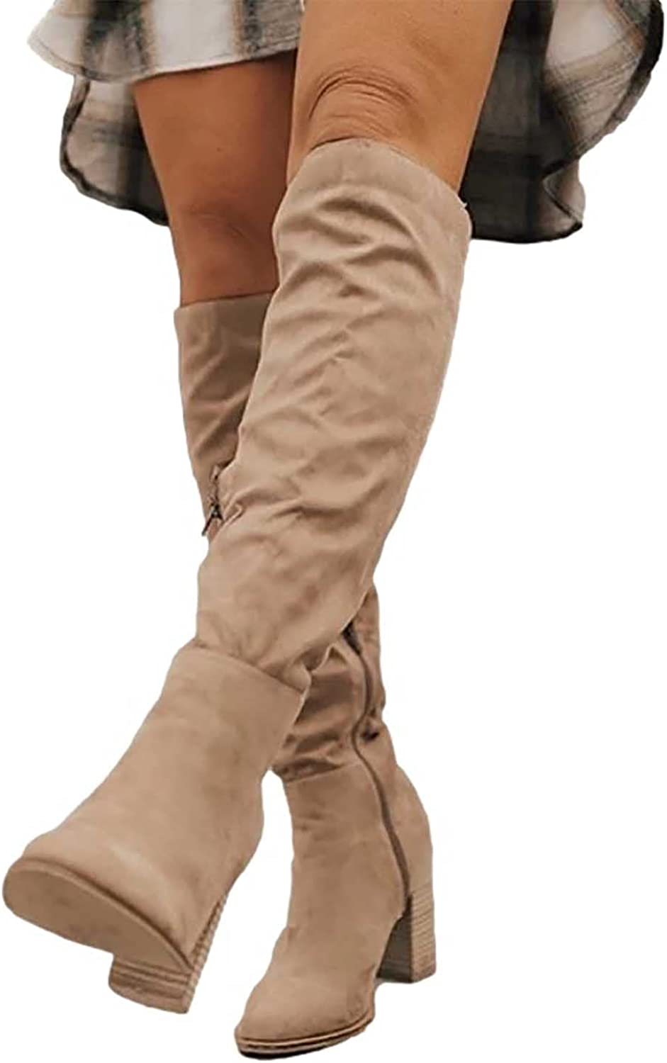 Women's Knee High Boots Faux Suede Chunky Heel Side Zipper Boot Fall Winter Fashion Large Size Pointed Toe Slouchy Shoes