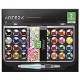 ARTEZA Classic Watercolor Paint, Set of 36 Vibrant Color Cakes, Includes 1 Water Brush Pen