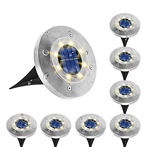 Solar Bodenleuchte,Koaod 8 LEDs Solar Bodenleuchten Aussen IP65 Wasserdicht Solar Gartenleuchte Warmweiß Edelstahl Kunststoff Solarlampe Deko für Rasen, Patio, Hof, Pathway - 8 Stück