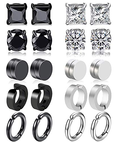 JEWPARK 10 Pairs 316L Stainless Steel Magnetic Stud Earring for Men Women hypoallergenic Clip On Non Pierced Cool Black CZ Earring Set