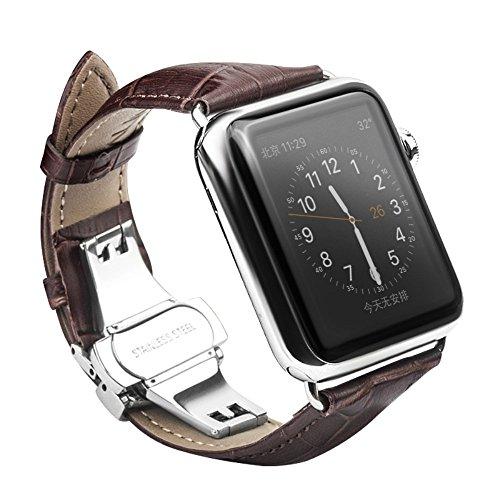 CoverKingz leren armband voor Apple Watch Series 4/3/2/1, lederen armband voor 42 mm/44 mm, roestvrij staal vlinder vouwsluiting, leren band zwart, bruin
