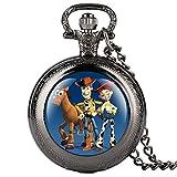 orologio da taschino per bambini, con motivo a cartoni animati, colore nero, per ragazzi, idea regalo