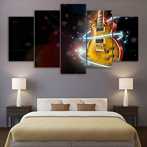 45Tdfc 5 Unidades Pictures Resumen Cool Guitar Lightning Full HD Painting Home Decor Modern Wall Art Canvas HD Prints Frame Modular Poster