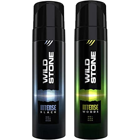 Wild Stone Intense Black and Wood No Gas Deodorant for Men, Pack of 2 (120ml each)