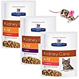 HILL'S PRESCRIPTION Diet Feline k/d Kidney Care MIX PACK 12 x 85g (4 Chicken, 4 Salmon, 4 Beef) and free soft toy. EVERYTHING WILL ARRIVE IN ONE k/d BOX !!