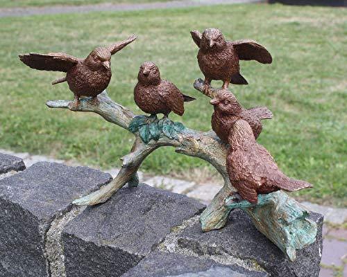 Unbekannt Bronzefigur 5 Spatzen auf AST Vögel Deko für Heim und Garten aus Bronze