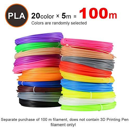CCH-YS Materiales, 20pieces / Lot 3D Impresora filamento 5M / pcs 20 Colores 1,75 mm PLA 3D impresión de la Impresora Filamento for 3D o 3D Pen (Color : 100m PLA 20color)
