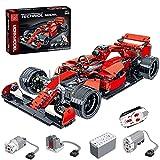 KEAYO F1 - Modelo de coche para Ferrari SF90, técnica RC Fórmula 1 con mando a distancia y motores, bloques de sujeción, compatible con Lego Technic