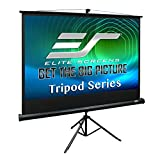 Elite Screens Tripod Series, 100-INCH 4:3, Adjustable Multi Aspect Ratio Portable Indoor Outdoor Projector Screen, 8K / 4K Ultra HD 3D Ready, 2-YEAR WARRANTY, T100UWV1 , Black
