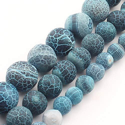 YJZZ 6 8 10 mm Blue Fire Bolas de Piedra ágata vena del dragón Mate for la joyería Que Hace los encantos DIY de Onyx Collar de la Pulsera de los Hombres de 15 Pulgadas (Item Diameter : 6mm)