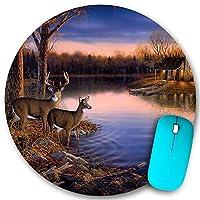 KAPANOU ラウンドマウスパッド カスタムマウスパッド、秋の自然野生動物の動物の鹿の狩猟、PC ノートパソコン オフィス用 円形 デスクマット 、ズされたゲーミングマウスパッド 滑り止め 耐久性が 200mmx200mm