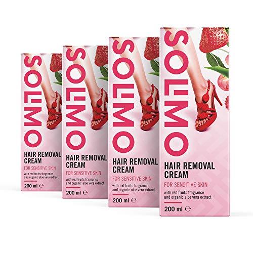 Marca Amazon - Solimo - Crema depilatoria para pieles sensibles con aroma de frutos rojos y extracto de aloe vera ecológico, Pack de 4 (4 unidades x 200 ml)