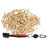 Tebery 250 Pack Bamboo Golf Tees 2-3/4 Inch with Golf Club Cleaning Brush