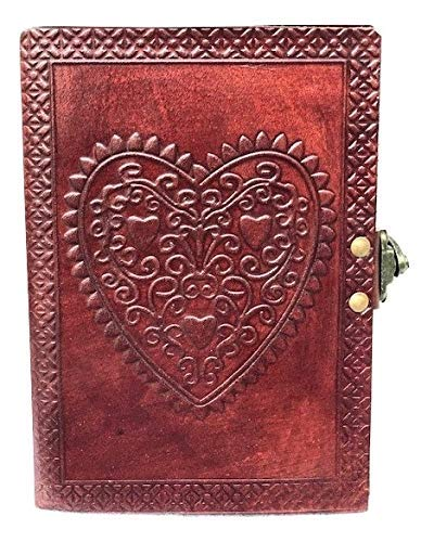 Leather Journal Large Vintage Heart Embossed Leather Journal with Handmade Unlined Paper and Lock Closure