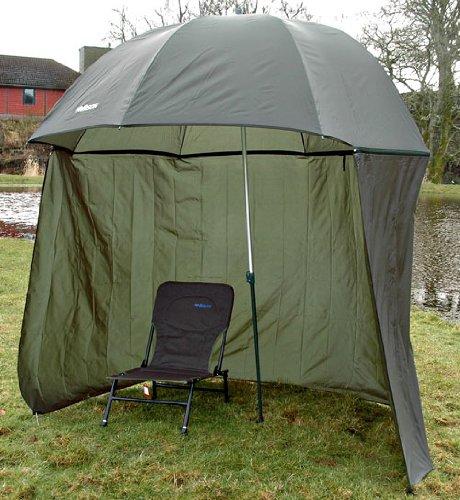 Bison - Refugio de pesca con sombrilla inclinable y toldo lateral (cremalleras en los lados, 2,5 m)