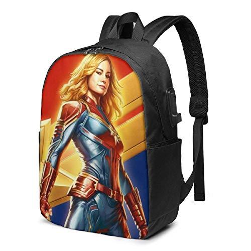 Mochila para ordenador portátil Capitán Marvel – con puerto de carga USB/mochilas impermeables y elegantes para la mayoría de ordenadores portátiles y tablets