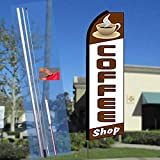 COFFEE SHOP (Cup) Flutter Feather Banner Flag Kit (Flag, Pole, & Ground Mt)