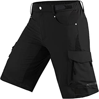 Mens Mountain Bike Biking Shorts, Bicycle MTB Shorts, Loose Fit Cycling Baggy Lightweight Pants with Zip Pockets